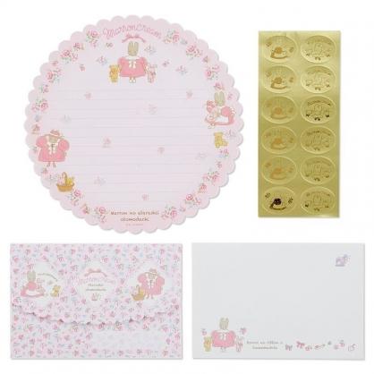 〔小禮堂〕兔媽媽 日製造型信紙組《粉白》信封.便條紙.玫瑰甜心系列
