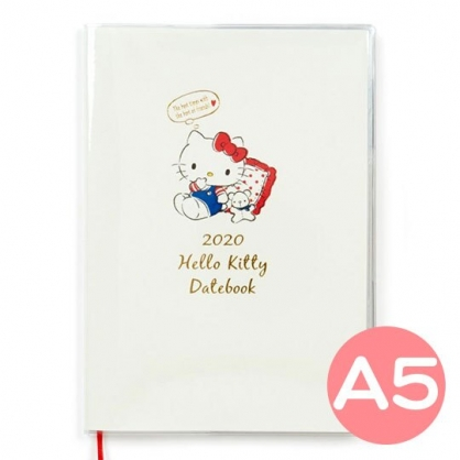 〔小禮堂〕Hello Kitty 2020 A5行事曆《米紅.對話框》手帳.年曆.記事本