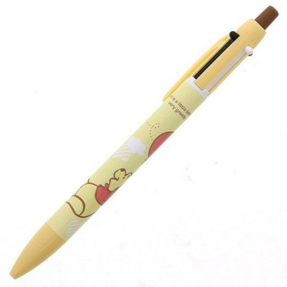 〔小禮堂〕迪士尼 小熊維尼 日製多色原子筆自動鉛筆《黃.拉汽球》自動筆.雙色筆.SUNSTAR系列
