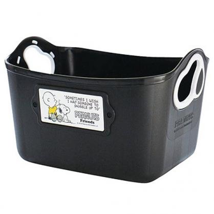〔小禮堂〕史努比 日製軟式收納盒《黑》2.5L.收納籃.置物盒