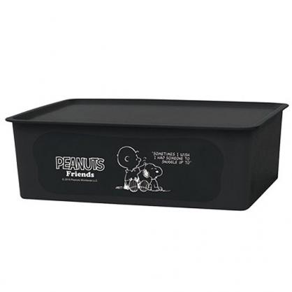 〔小禮堂〕史努比 日製方形塑膠無把拿蓋收納箱《L.黑.摸頭》置物箱.玩具箱.衣物箱
