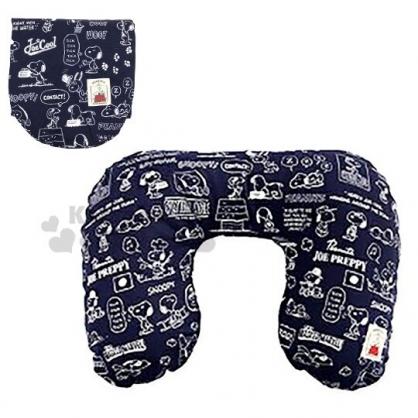 〔小禮堂〕史努比 日製可收納充氣棉質U型頸枕《深藍.對話框》午安枕.靠枕