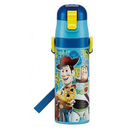 〔小禮堂〕迪士尼 玩具總動員 超輕量彈蓋不鏽鋼保溫瓶附背帶《藍.站姿》470ml.兒童水壺.水瓶