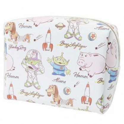 〔小禮堂〕迪士尼 玩具總動員 皮質方形化妝包《白.角色介紹》收納包.萬用包