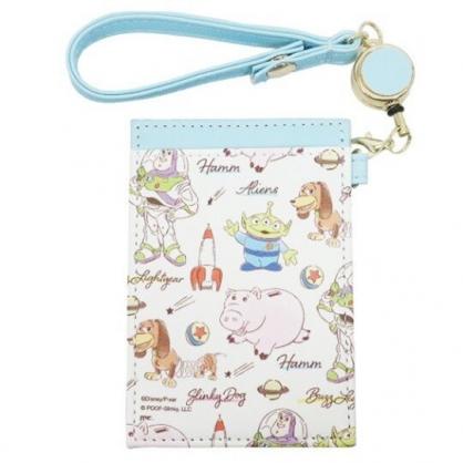 〔小禮堂〕迪士尼 玩具總動員 皮質易拉扣伸縮票卡夾《藍白.角色介紹》車票夾.證件夾.卡套