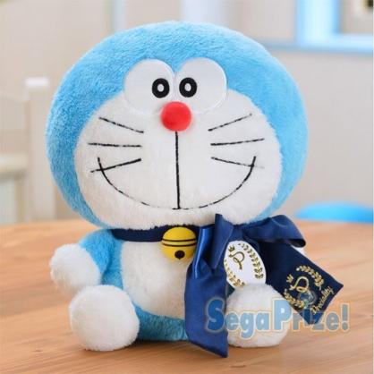 〔小禮堂〕哆啦A夢 絨毛玩偶娃娃《L.白.藍領結》擺飾.玩具