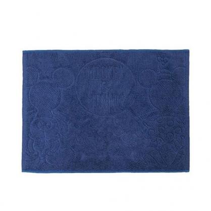 〔小禮堂〕迪士尼 米奇米妮 毛巾腳踏墊《深藍.背影》45X60cm.浴墊.地墊