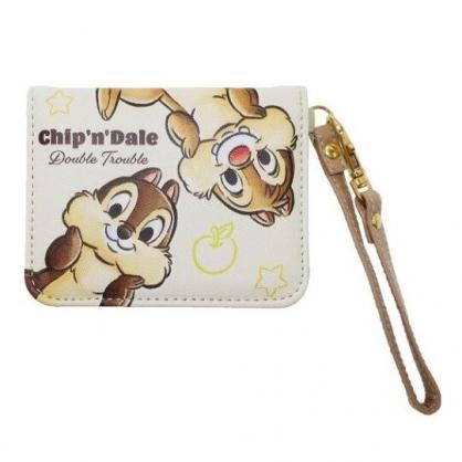 〔小禮堂〕迪士尼 奇奇蒂蒂 皮質扣式腕繩票卡夾《米棕.摸臉》證件夾.車票夾