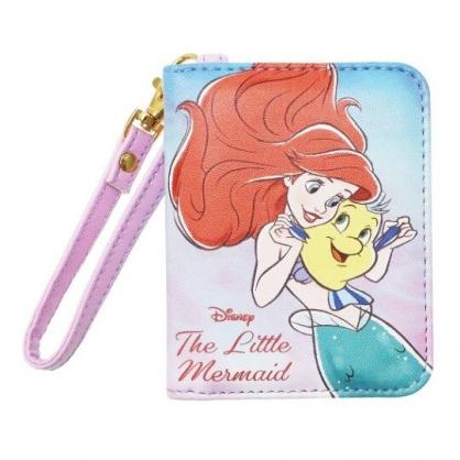 〔小禮堂〕迪士尼 小美人魚 皮質扣式腕繩票卡夾《藍紫.抱抱》證件夾.車票夾