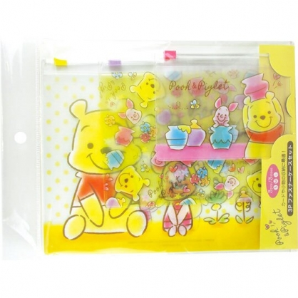 〔小禮堂〕迪士尼 小熊維尼 透明方形夾鏈袋組《3入.黃.Q版》收納袋.密封袋.分類袋