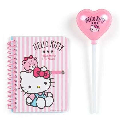 〔小禮堂〕Hello Kitty 迷你左翻線圈筆記本附造型筆《粉白》橫線記事本.日記本.手札