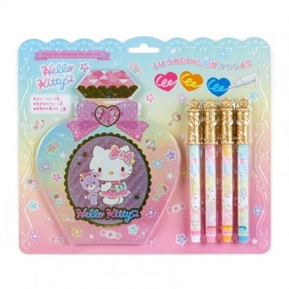 〔小禮堂〕Hello Kitty 香水瓶造型便條本變色筆組《粉黃》筆記本.塗鴉筆