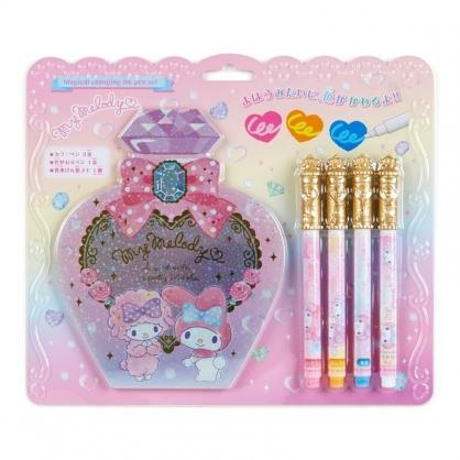 〔小禮堂〕美樂蒂 香水瓶造型便條本變色筆組《粉紫》筆記本.塗鴉筆