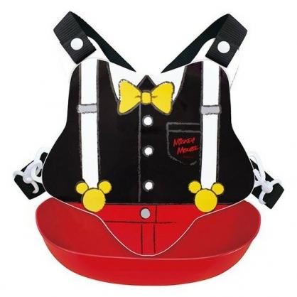 〔小禮堂〕迪士尼 米奇 日製防水矽膠圍兜附背帶《黑紅.領結》口水圍兜.口水巾