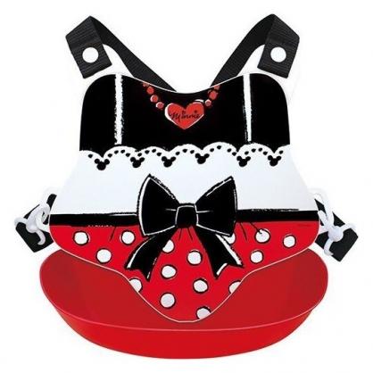 〔小禮堂〕迪士尼 米妮 日製防水矽膠圍兜附背帶《黑紅.領結》口水圍兜.口水巾