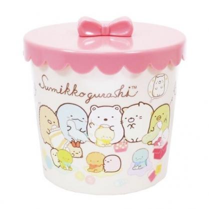 〔小禮堂〕角落生物 圓形塑膠拿蓋收納罐《黃粉.玩偶》糖果罐.置物罐.飾品罐