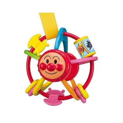 〔小禮堂〕麵包超人 圓形塑膠手感玩具《橘綠.大臉》兒童玩具