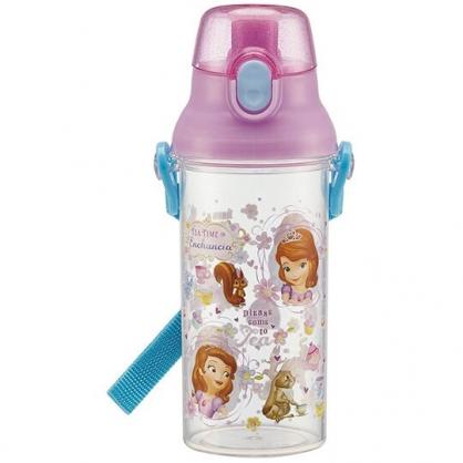 〔小禮堂〕迪士尼 蘇菲亞公主 日製透明直飲式水壺附背帶《紫.動物》480ml.水瓶.兒童水壺