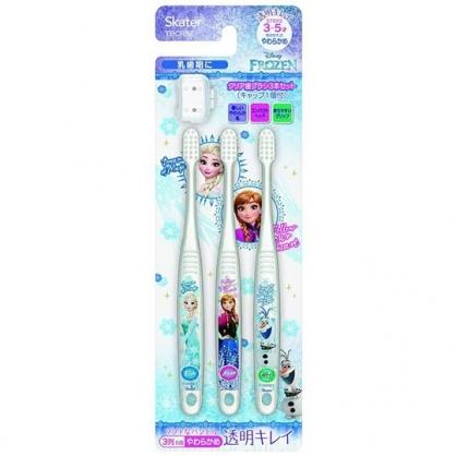〔小禮堂〕迪士尼 冰雪奇緣 透明兒童牙刷組附牙刷蓋《3入.藍白.冰山》3-5歲適用.學童牙刷