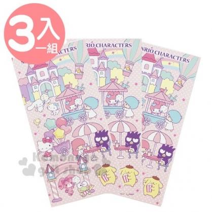 〔小禮堂〕Sanrio大集合 日製直式紅包袋組《3入.粉.遊樂園》信封袋.禮金袋.收納袋