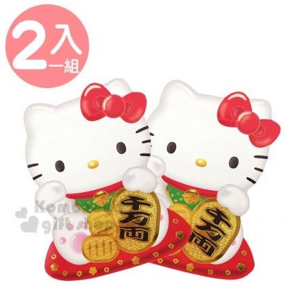 〔小禮堂〕Hello Kitty 迷你招財貓造型直式紅包袋組《2入.紅》信封袋.禮金袋