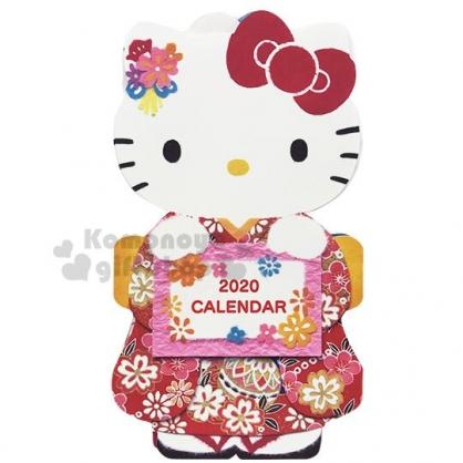 〔小禮堂〕Hello Kitty 2020 和風造型桌曆卡片《粉白.和服》月曆.賀卡