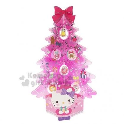 〔小禮堂〕Hello Kitty 立體透明聖誕樹造型卡片《粉》耶誕賀卡.節慶卡