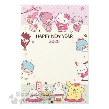 〔小禮堂〕Sanrio大集合 日製燙金新年明信片卡片組《3入.黃.和服》新年賀卡.節慶卡