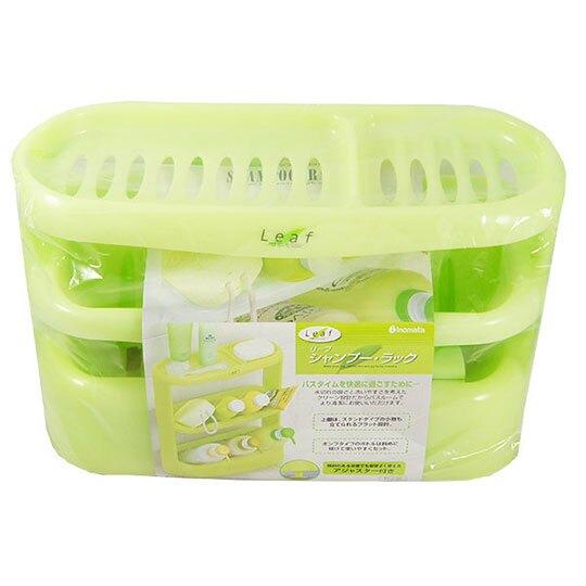 〔小禮堂〕日本LEAF 日製塑膠三層浴室瓶罐收納架《綠》濾水置物架.瓶罐架