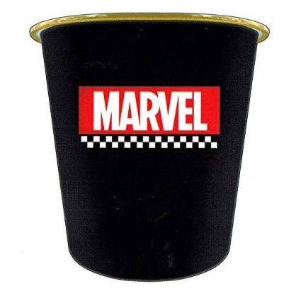 〔小禮堂〕漫威英雄Marvel 圓形無蓋垃圾桶《黑.文字》書報桶.收納桶