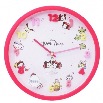 〔小禮堂〕迪士尼 TsumTsum 連續秒針圓形壁掛鐘《粉.立體數字》時鐘