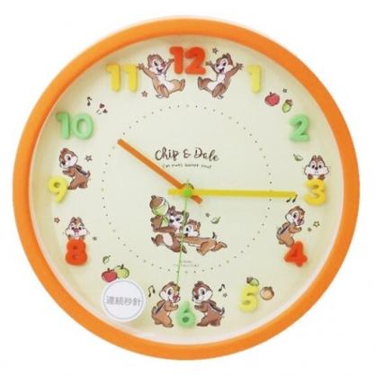 〔小禮堂〕迪士尼 奇奇蒂蒂 連續秒針圓形壁掛鐘《橘.立體數字》時鐘