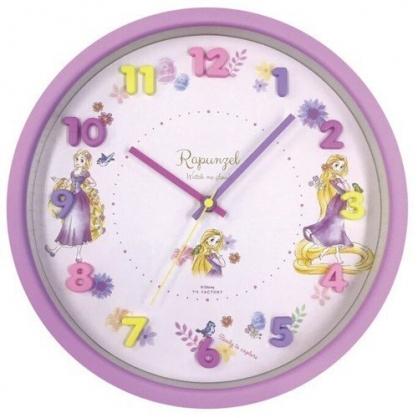 〔小禮堂〕迪士尼 長髮公主 連續秒針圓形壁掛鐘《紫.立體數字》時鐘