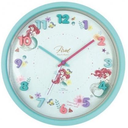 〔小禮堂〕迪士尼 小美人魚 連續秒針圓形壁掛鐘《綠.立體數字》時鐘