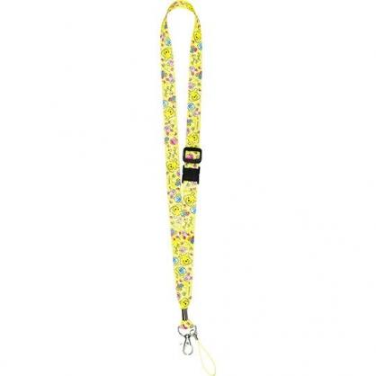〔小禮堂〕迪士尼 小熊維尼 多功能頸繩《黃綠.花朵》掛飾.頸掛繩.證件帶