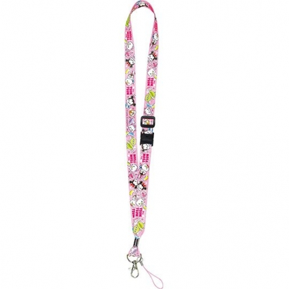 〔小禮堂〕迪士尼 TsumTsum 多功能頸繩《粉.愛心》掛飾.頸掛繩.證件帶