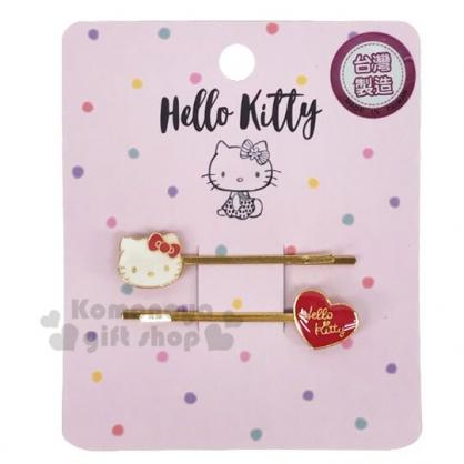 〔小禮堂〕Hello Kitty 一字造型鐵製髮夾組《2入.紅金》瀏海夾.髮飾