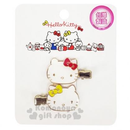 〔小禮堂〕Hello Kitty 大臉造型鐵製髮夾組《2入.白金》瀏海夾.髮飾