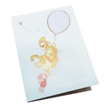 〔小禮堂〕迪士尼 小熊維尼 日製造型自黏便利貼本《藍.拉氣球》標籤貼.便條紙.N次貼