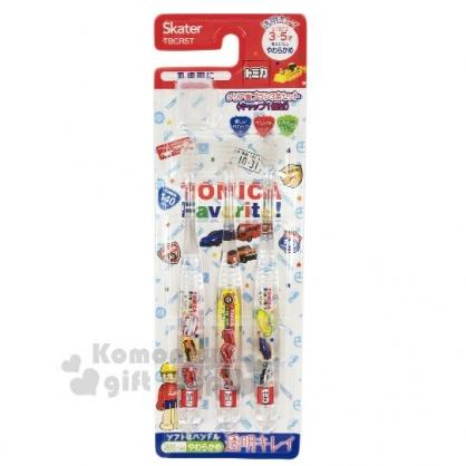 〔小禮堂〕TOMICA小汽車 透明兒童牙刷組附牙刷蓋《3入.紅白.車種》3-5歲適用.學童牙刷