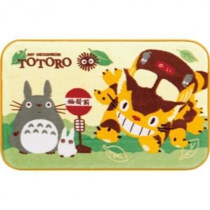 〔小禮堂〕宮崎駿Totoro龍貓 長方形絨毛腳踏墊《黃綠.貓公車》50X80cm.地墊.地毯