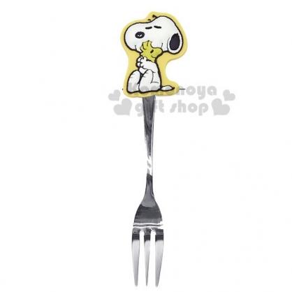 〔小禮堂〕史努比 造型矽膠柄甜點叉子《黃銀.抱抱》點心叉.兒童餐具