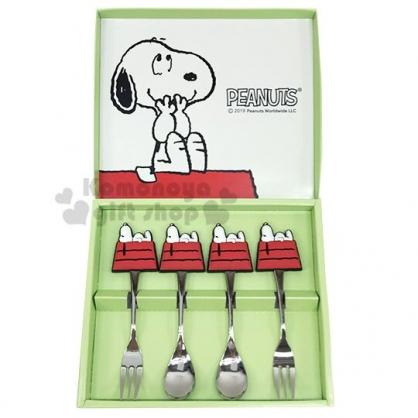 〔小禮堂〕史努比 造型矽膠柄甜點叉匙組《4入.綠盒裝》點心匙.點心叉.兒童餐具