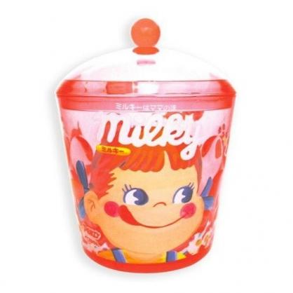 〔小禮堂〕不二家PEKO 圓形壓克力拿蓋收納罐《紅.大臉》置物罐.棉花罐.收納盒