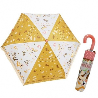 〔小禮堂〕迪士尼 奇奇蒂蒂 彎把防風傘骨折疊傘《粉白.大笑》折傘.雨具.雨傘
