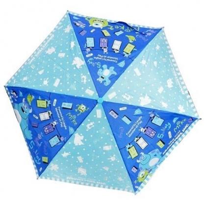 〔小禮堂〕迪士尼 怪獸大學 彎把防風傘骨折疊傘《深藍.文字》折傘.雨具.雨傘