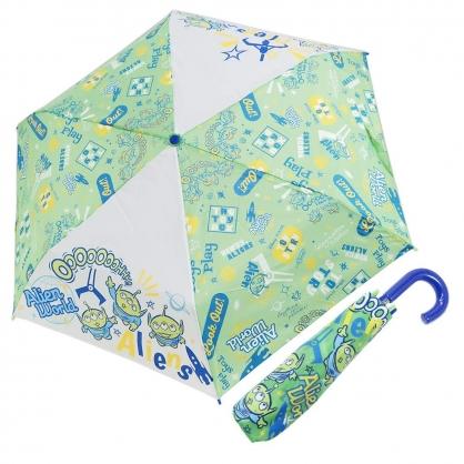 〔小禮堂〕迪士尼 三眼怪 彎把防風傘骨折疊傘《綠.抬頭》折傘.雨具.雨傘