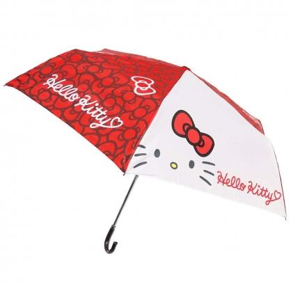 〔小禮堂〕Hello Kitty 彎把防風傘骨折疊傘《紅.蝴蝶結》折傘.雨具.雨傘