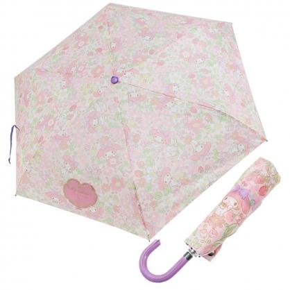 〔小禮堂〕美樂蒂 彎把防風傘骨折疊傘《粉紫.草莓花》折傘.雨具.雨傘