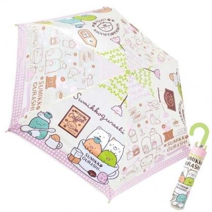 〔小禮堂〕角落生物 彎把防風傘骨折疊傘《綠白.咖啡杯》折傘.雨具.雨傘